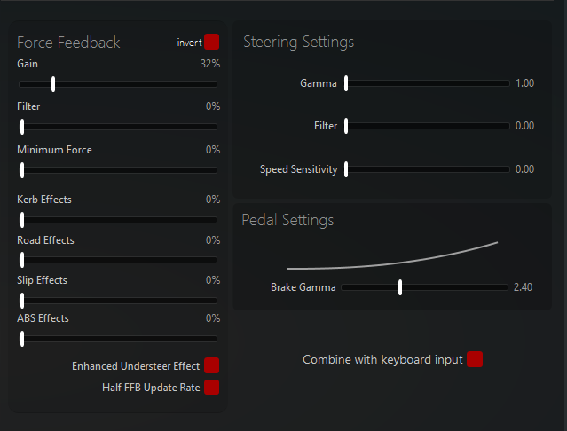 Available settings on Simucube / Assetto Corsa config